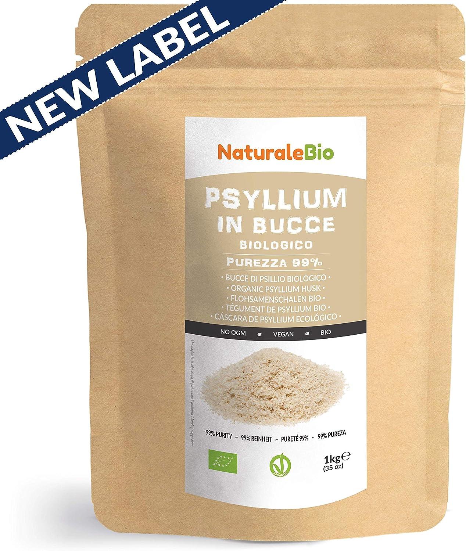 Cáscara de Psyllium Ecológico [99% Pureza] 1 Kg. Psyllium Husk, Natural y Puro. 100% cutícula de semillas de Psilio Orgánico, producido en India. Rico en Fibra, para añadir al Agua, Bebidas y