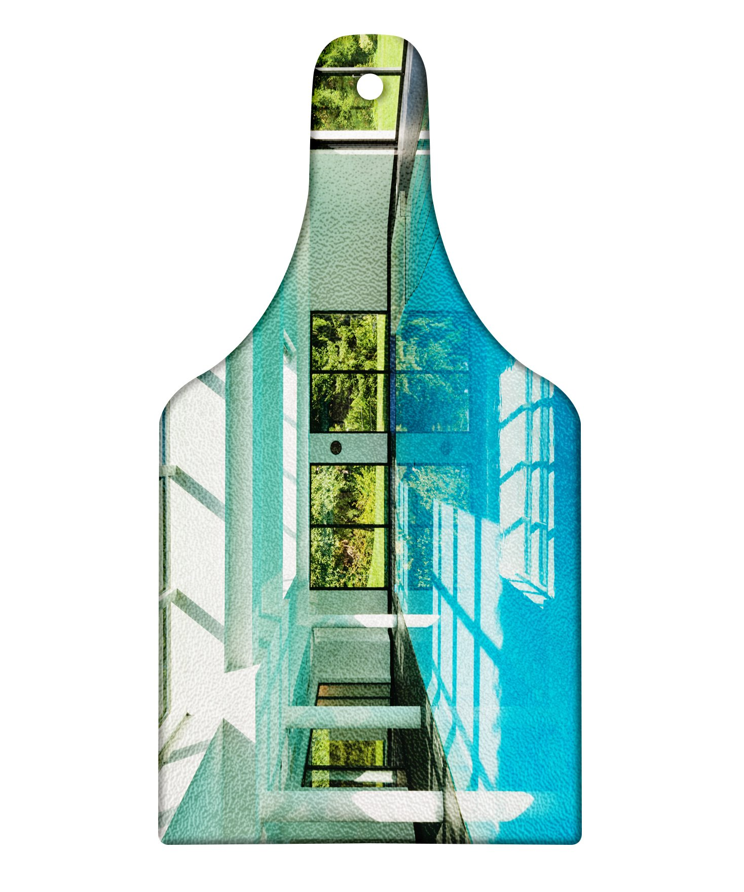 Lunarable Spa Cutting Board, Indoor Swimming Pool of a Modern House with Spa Window Residential Interior Design, Decorative Tempered Glass Cutting and Serving Board, Wine Bottle Shape, Mint Aqua Green
