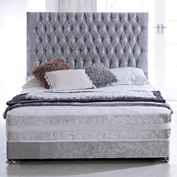 promo code a5a46 c8df5 Hf4you Sprung Memory Crushed Velvet Bed Set – 4FT6 Double – Silver – 30