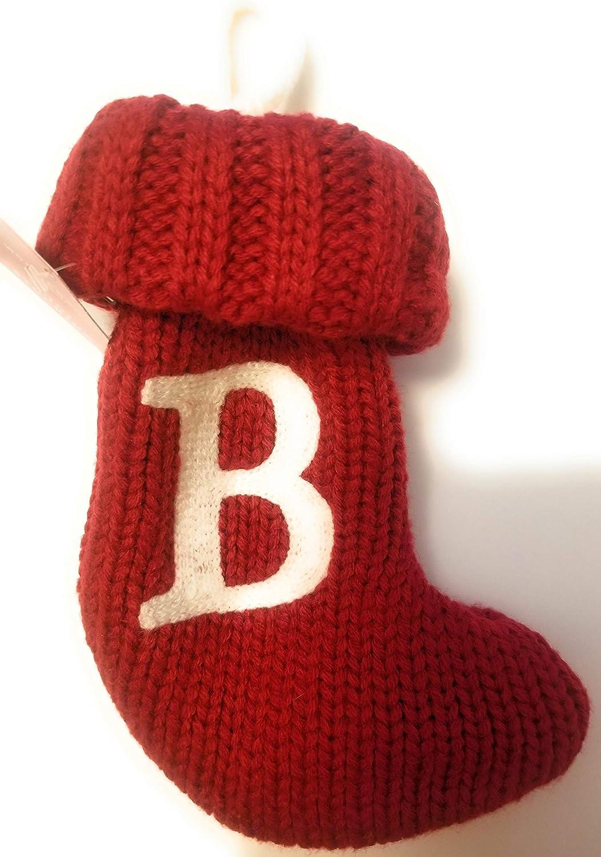 Kurt Adler 7 Red and White Monogram F Mini Christmas Stocking
