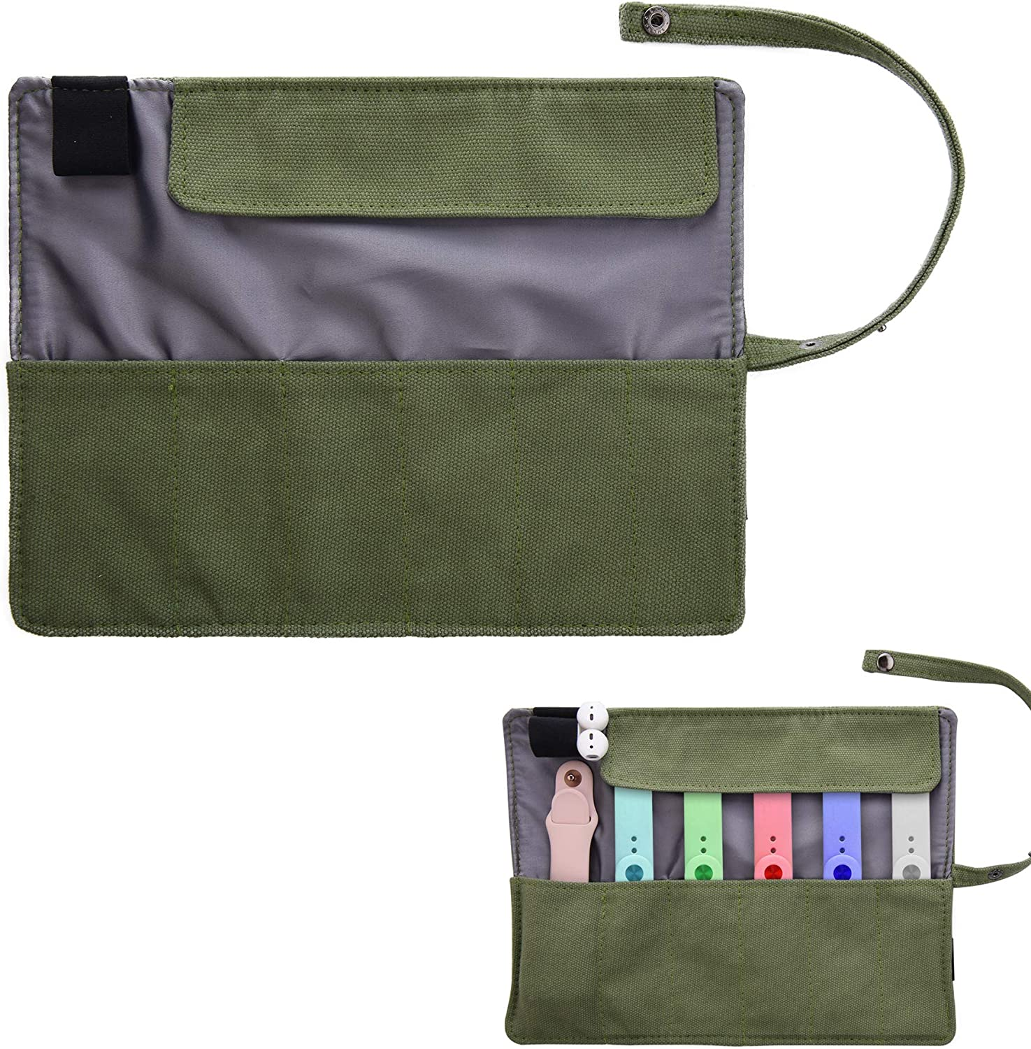 Watch Band Accessories Smartwatch Organizer Holder Pouch Protable Bag Travel Pouch Pencil Organizer Bag-Compatible with Apple Watchbands, Garmin Watch Band, Samsung Watch Band--Olive Green