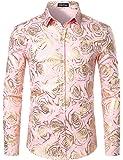 ZEROYAA Men's Shiny Gold Rose Print Slim Fit Long Sleeve Floral Dress Shirts/Prom Performing Shirts