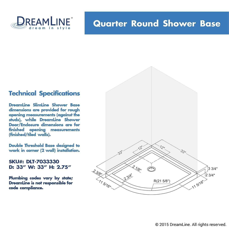 DreamLine SlimLine  In X  In Quarter Round Shower Base DLT - Corner garden tub dimensions