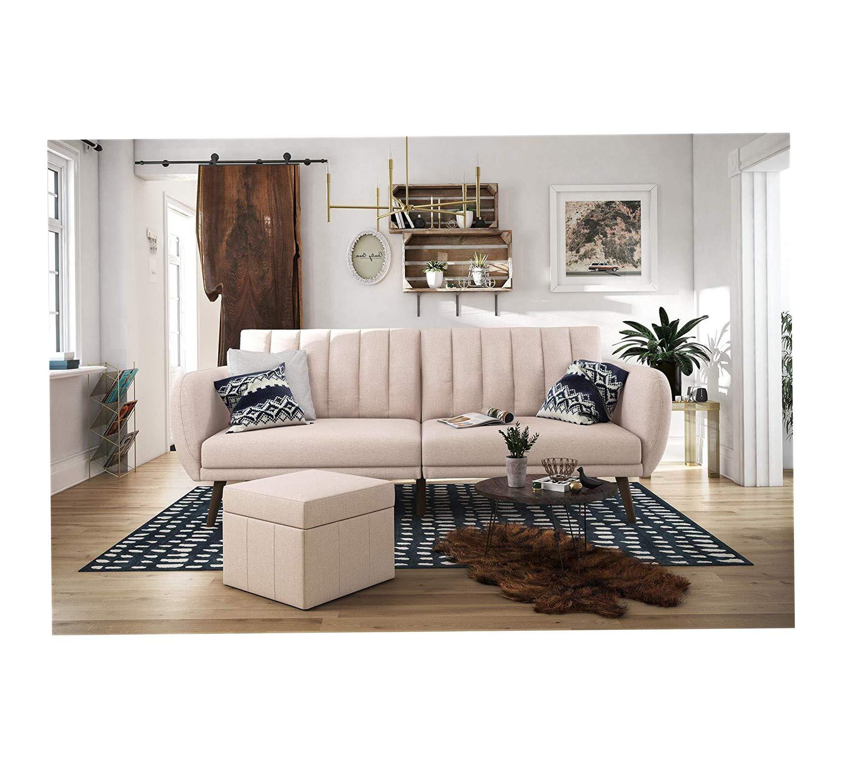Home Sofa Futon, Premium Linen Upholstery and Wooden Legs, Pink Linen Office Décor Studio Living Heavy Duty Commercial Bar Café Restaurant by Wood & Style