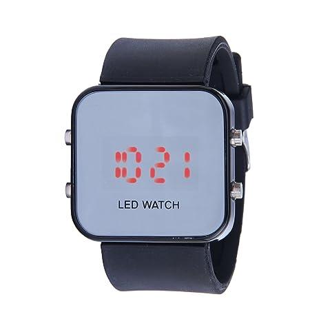 6682c2ce6989 SODIAL(R) Reloj Deportivo Digital Espejo LED para Unisex Hombre Mujer