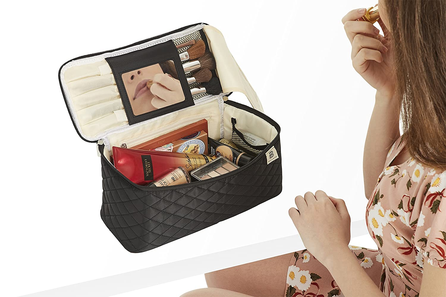 Ballage Large Quilted Makeup Organizer Bag with Mirror To Organize Your Beauty Tools. Multi Functional Makeup Bag Cosmetic Organizer and Toiletry Holder. Includes Brush Holder