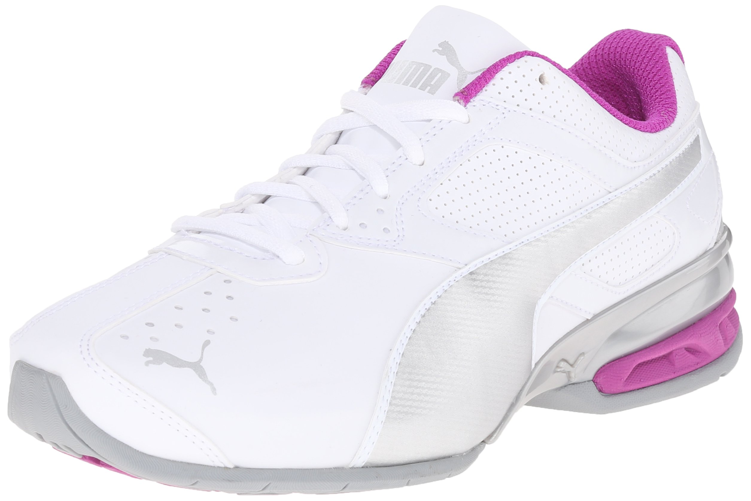 PUMA Women's Tazon 6 Wide Training Sneaker, White Silver/Purple Cactus, 6.5 W US