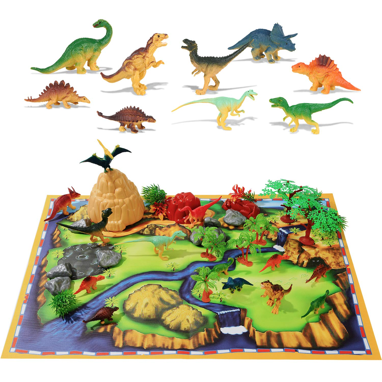 50PCS Dinosaur Toys Dinosaur Gift Set for Boys Girls 2 3 4 5 Toddler Toys of 20 Realistic Dinosaurs + 29 Trees & Rocks + PlayMat