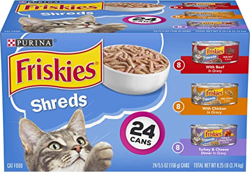 Purina Friskies Gravy Wet Cat Food Variety Pack, Shreds Beef, Chicken and Turkey Cheese Dinner – 24 5.5 oz. Cans