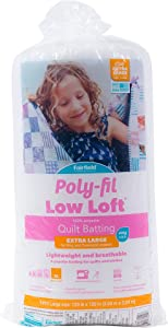 """Fairfield Poly-Fil Low Loft 100% Bonded Polyester Batting - King Size 120"""" x 120"""""""