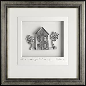 """Cynthia Webb Designs Cottage with Oak Trees """"Home Is Where Your Heart Can Sing"""" Framed Pewter 9""""x9"""" Silver Finish Wood Frame – Handcrafted in the USA"""