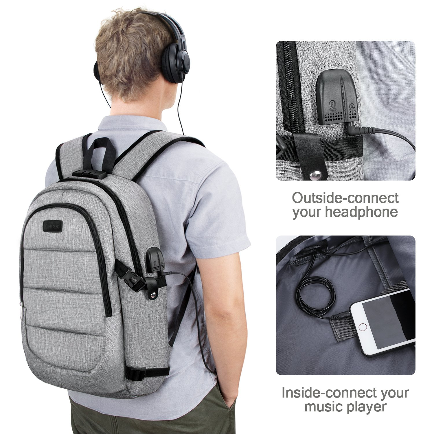 Travel Laptop Backpack,AMBOR Anti-Theft Business Laptop Backpack with USB Charging Port & Headphone Interface, Slim Durable College School Computer Bag for Men Women Fits 15.6 Inch Laptop and Notebook by AMBOR (Image #6)