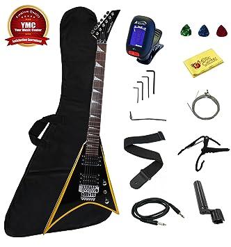 Stedman Flying V Series Guitarra eléctrica con muchos accesorios