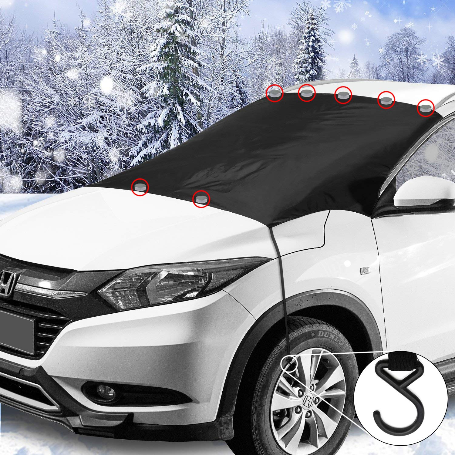 GREATWILD Magnetic Car Windscreen Cover Windshield Cover Window Covers for Frost Snow Ice Sun Shade with 7 Magnets 2 Hooks Oversized for SUV Trucks