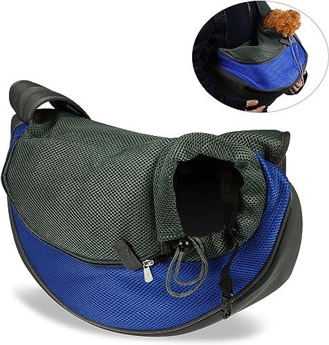 ENJOYING Dog Cat Puppy Carrier Mesh Travel Tote Shoulder Bag Sling Backpack Blue, L