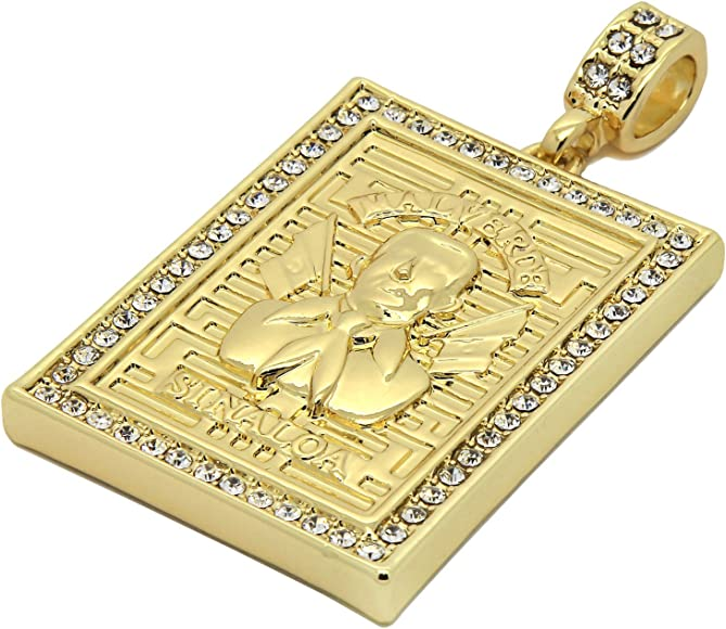 """Jesus Malverde Iced-Out Pendant  Chain 14k Gold Plated 30/"""" x 3MM Rope Necklace"""