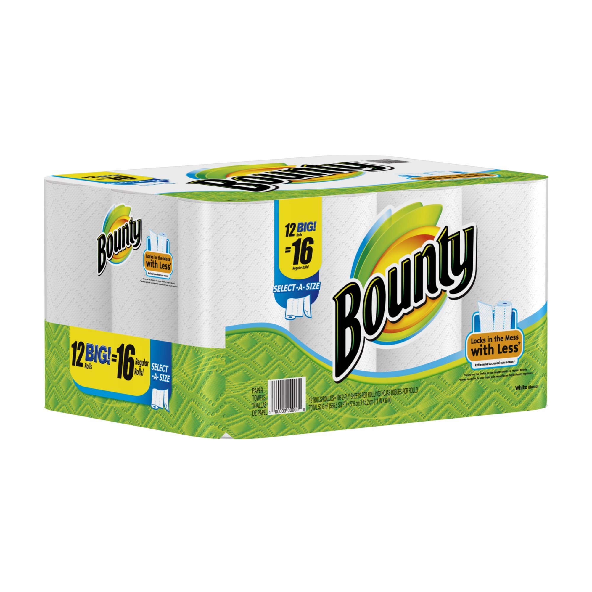 Bounty Paper Towels, White, Big Rolls-12 ct (SELECT-A-SIZE)