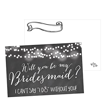Amazoncom 15 Will You Be My Bridesmaid Cards Chalkboard I Can