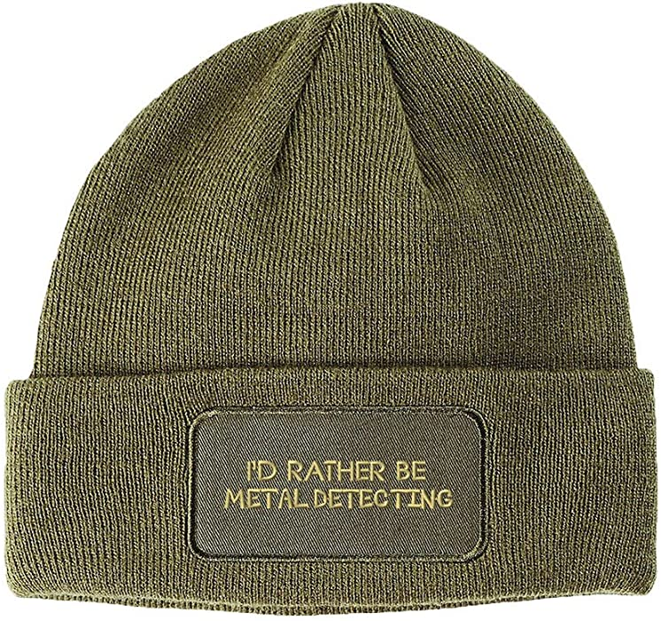 52dfe23902a Amazon.com  Speedy Pros I`D Rather Be Metal Detecting Embroidered Unisex  Adult Acrylic Patch Beanie Warm Hat - Olive Green