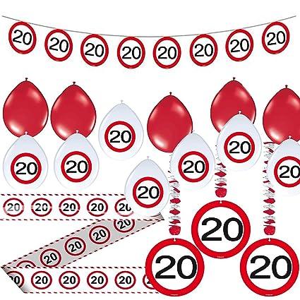 Juego de Fiesta (23 * 20. Cumpleaños * con señal de tráfico ...
