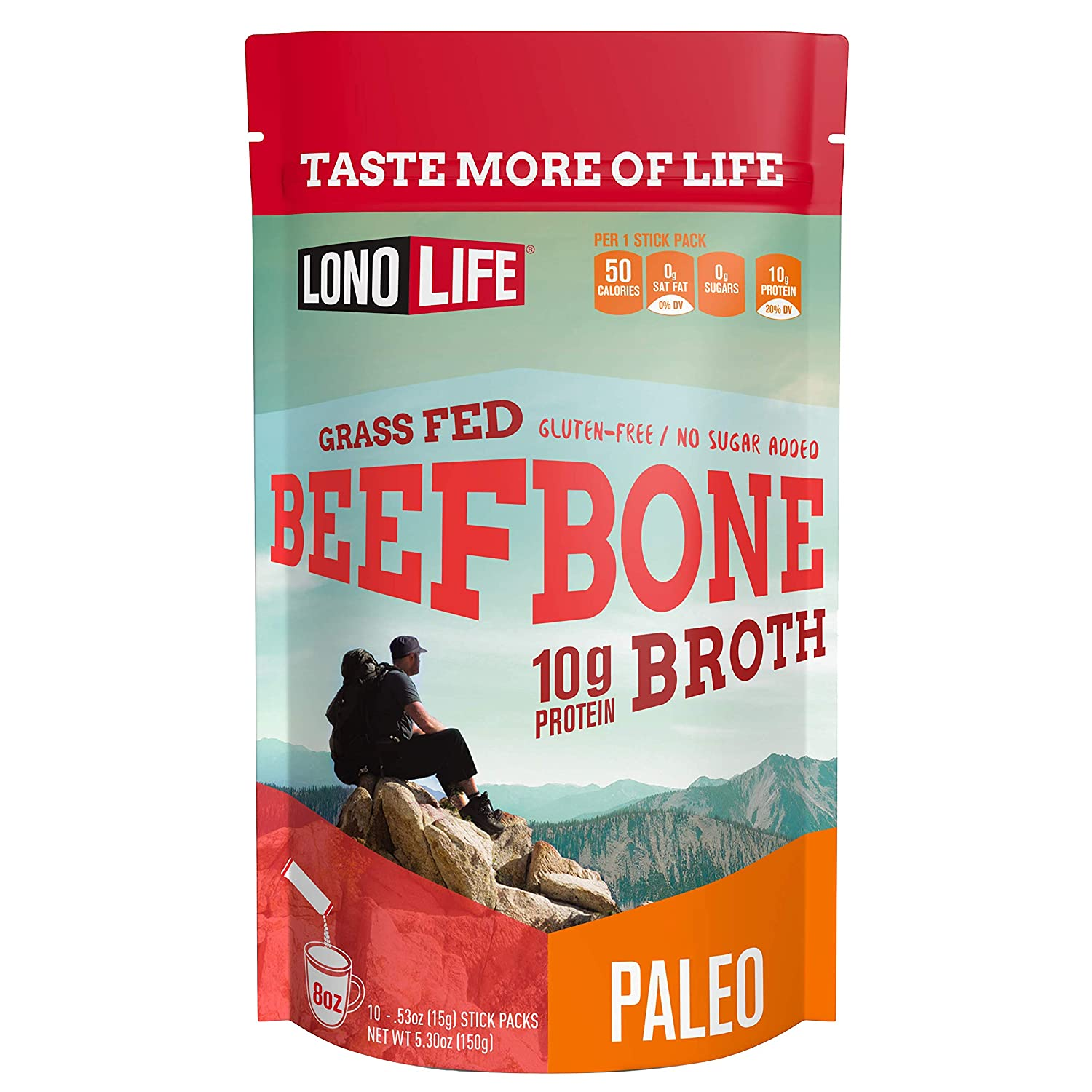 Beef Bone Broth Powder by LonoLife, Grass Fed, 10g Collagen Protein, Keto & Paleo Friendly, Low-Carb, Gluten Free, Portable Stick Packs (.53oz ea) - 10 Count