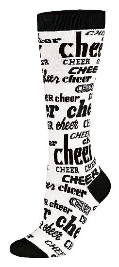 ac34b462bd8 Amazon.com  Chassé Girls Chassé Knee-High Nothing But Cheer Sock-Blk ...