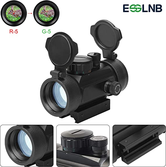 ESSLNB Red Dot Sight Airsoft Scope Reflex Sight Rifle Scope 30mm Optic Prism Red Green Brightness Settings with 22mm/11mm Weaver Picatinny Rail Mount for Hunting Spotting Aiming Positioning