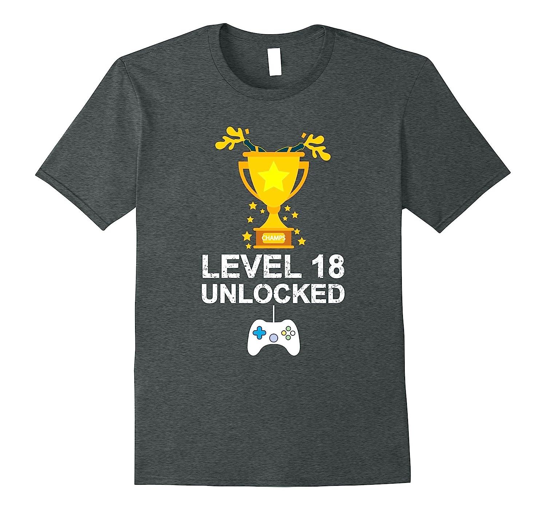 Funny 18th Birthday Level 18 Unlocked T-shirt Gamer Gift