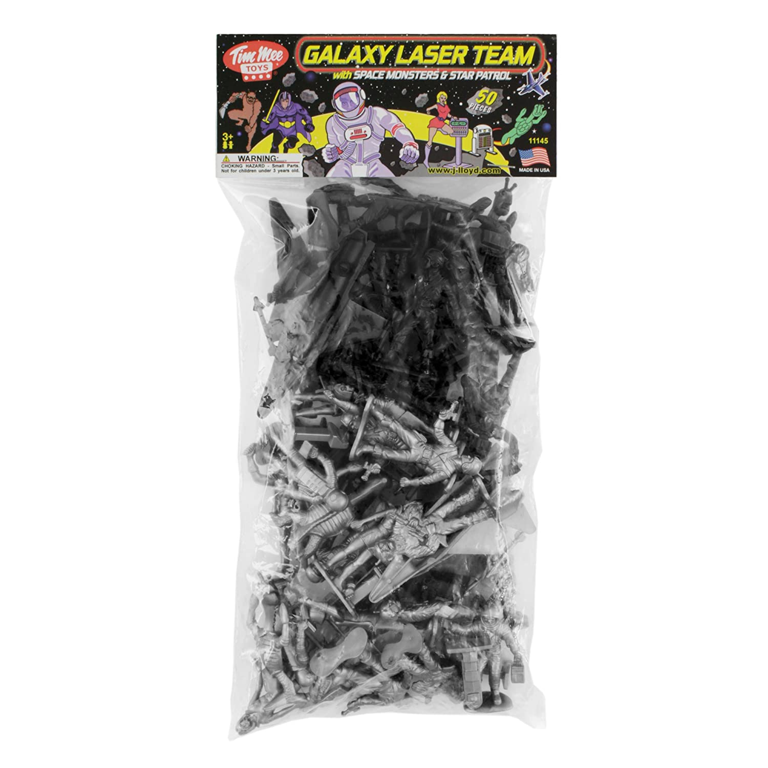 Made in USA Tim Mee Toy Black vs Silver 50pc Set TimMee Galaxy Laser Team Space Figures
