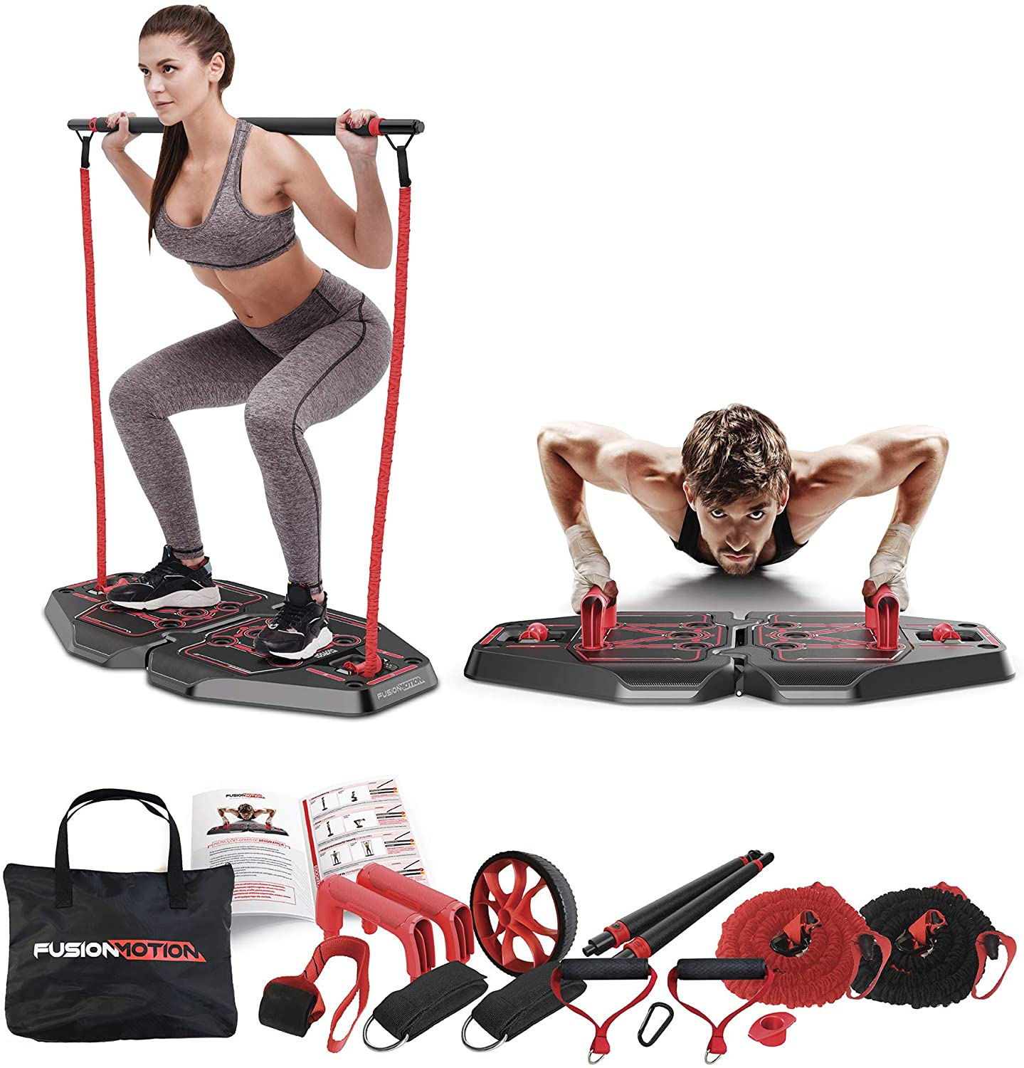 Amazon Com Fusion Motion Portable Gym With 8 Accessories Including Heavy Resistance Bands Tricep Bar Ab Roller Wheel Pulleys And More Full Body Workout Home Exercise Equipment To Build Muscle And
