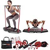 Fusion Motion Portable Gym with 8 Accessories Including Heavy Resistance Bands, Tricep Bar, Ab Roller Wheel, Pulleys and…