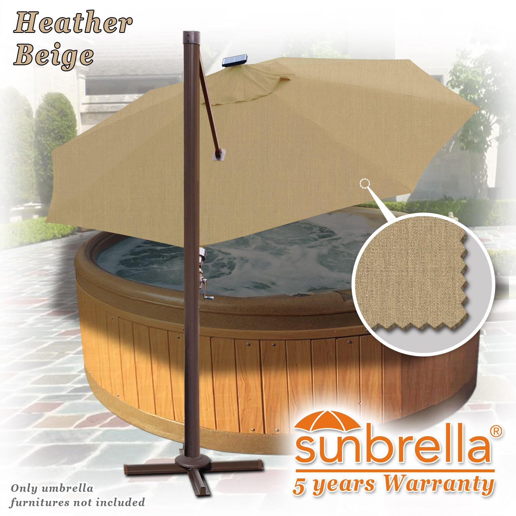 Strong Camel 11.5' Deluxe Cantilever Big Roma Umbrella Hanging Offset Solar Umbrella UV50+ Tilt & 360'C Rotation Patio Heavyduty Outdoor Sunshade Cantilever Crank SUNBRELLA Cover (Beige) by Strong Camel (Image #5)
