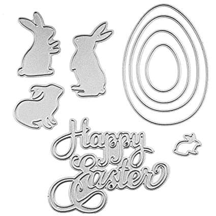 picture relating to Letter Cut Out Template known as Maycoo Easter Die Cuts, Satisfied Easter Letter Reducing Dies and Egg Bunny Rabbit Steel Stencil Template for Do-it-yourself Sbook Al Paper Card Craft