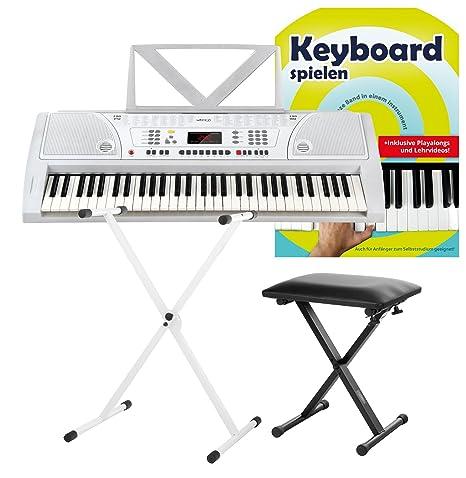 FunKey 61 Plus Keyboard blanco set. incl. soporte para teclado ...