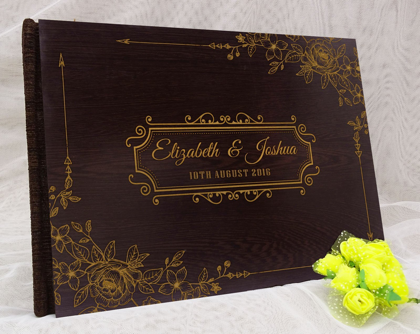 Personalized Wood Wooden Floral Engraved Bride & Groom Advice Book Personalized Rustic Wedding Guest Book - 50 Pages by Darling Souvenir (Image #4)