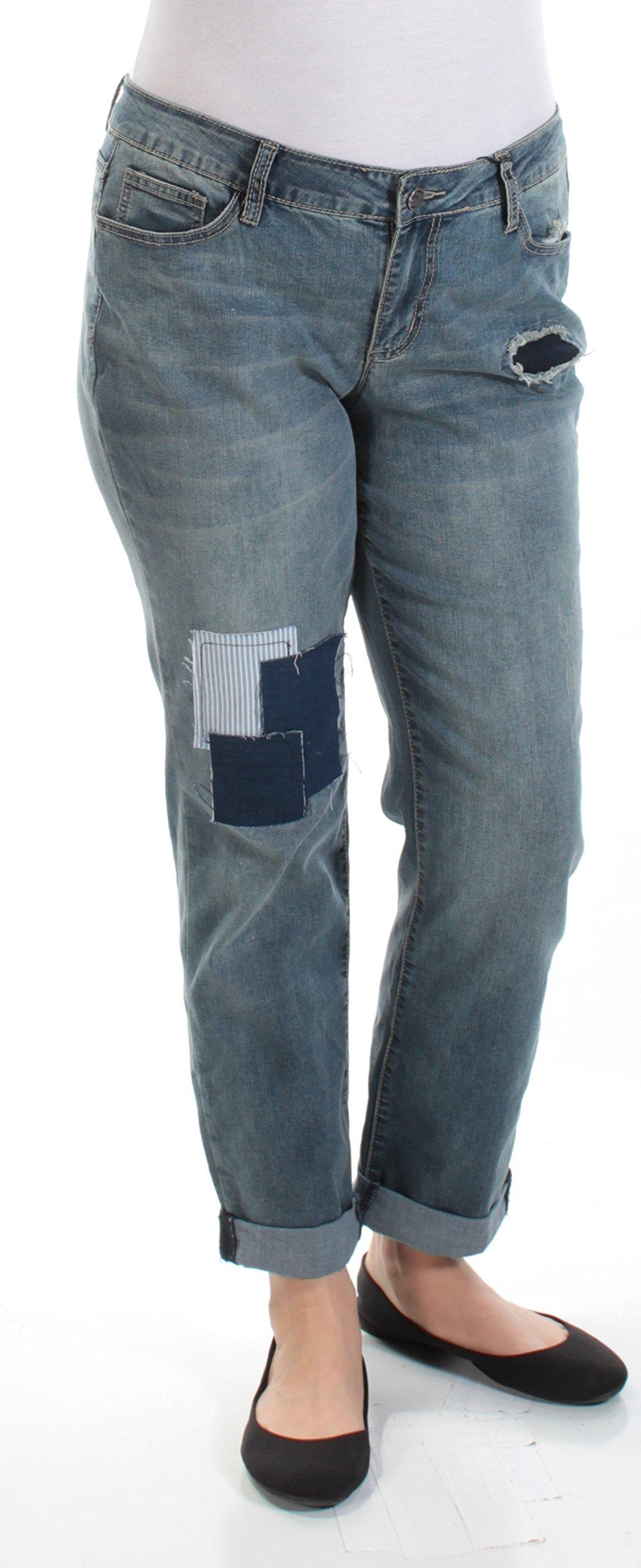 Earl Jean Womens Denim Patchwork Boyfriend Jeans Blue 8