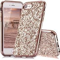 iPhone 7 Case,iPhone 8 Case Glitter,Qbily iPhone 7 Case Luxury Sparkle Bling Glitter Phone Case Shockproof Ultra Slim Anti-Scratch Hard PC Bumper Back Cover for Apple iPhone 7 / iPhone 8 Rosegold