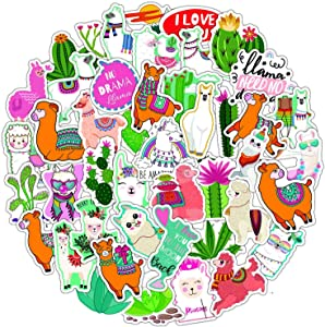 HUIZHE Kawaii Stickers for Kids, 50 Pcs Vinyl Waterproof Cool Stickers Decal for Hydroflask, Laptops, Folders, Refrigerators, Walls, Windows, Girls (Alpaca Cactus)