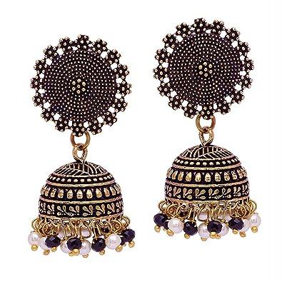 b71d422a6f V L IMPEX Black Metal Oxidised Silver Plated Jhumka Jhumki Earrings for  Women & Girls