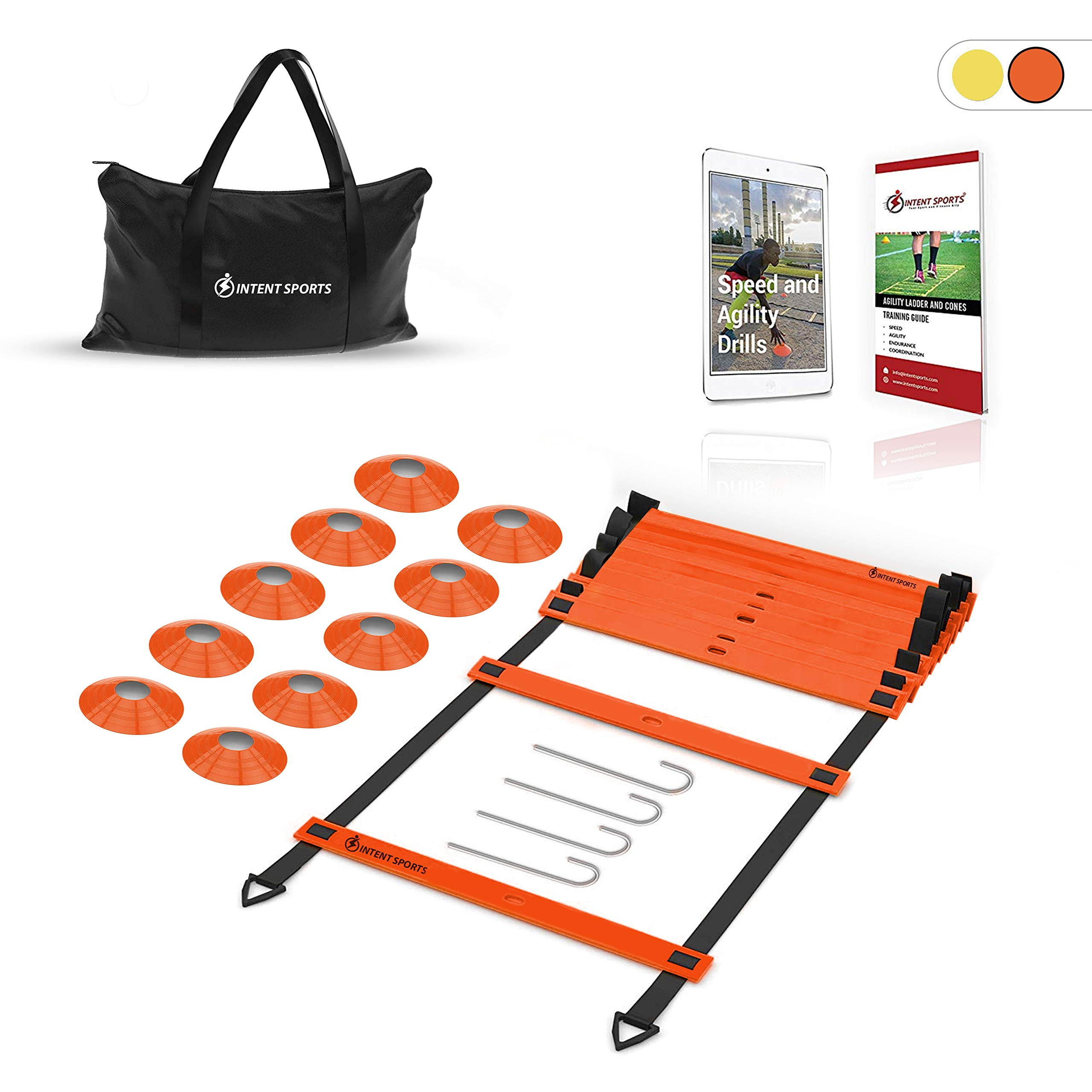 INTENT SPORTS Pro 20ft Speed Agility Ladder & 10 Cones Training Set – Exercise Workout Equipment to Boost Speed, Coordination, Footwork, Explosiveness – Soccer, Football, Basketball, Lacrosse, Hockey