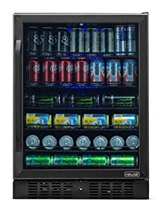 NewAir Beverage Refrigerator Built in Cooler with 177 Can Capacity Soda Beer Fridge, NBC177BS00, Black Stainless Steel