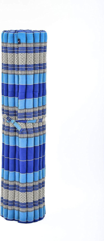 Extrabreite G/ästematratze Yogamatte Massagematte /Ökologisches Naturprodukt blau Leewadee Rollbare XXL Thai Matte Kapok 200x150x5 cm