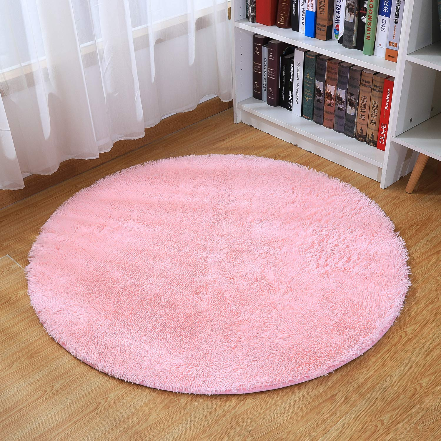 Super Soft Area Rug, Daluo New Arrivl Thick Anti-Skid Fluffy Round Children Area Rug for Living Room Bedroom Kids Room Nursery, 4-Feet (Pink)