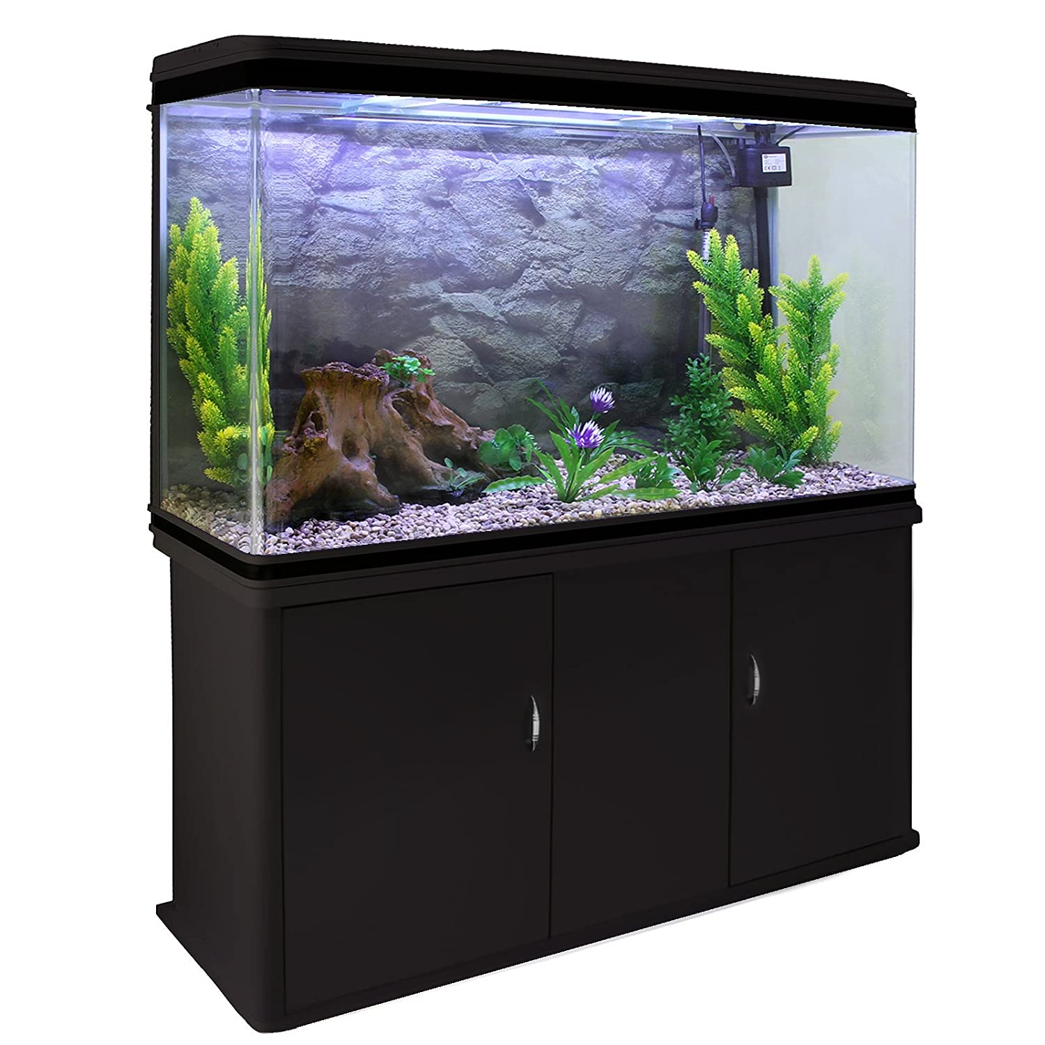 MonsterShop - Acuario 300 Litros con Mueble Negro y Kit con Plantas y Grava Natural 143cm x 120cm x 39cm: Amazon.es: Productos para mascotas