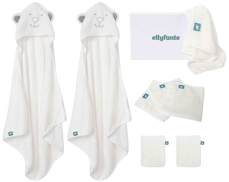 * Nuevo Lanzamiento * Set de Regalo Ellyfante para Bebés | 9 Piezas | Paños de Bambú para Bebés (x5), Toallas Encapuchadas de Bambú para Bebés (x2), ...