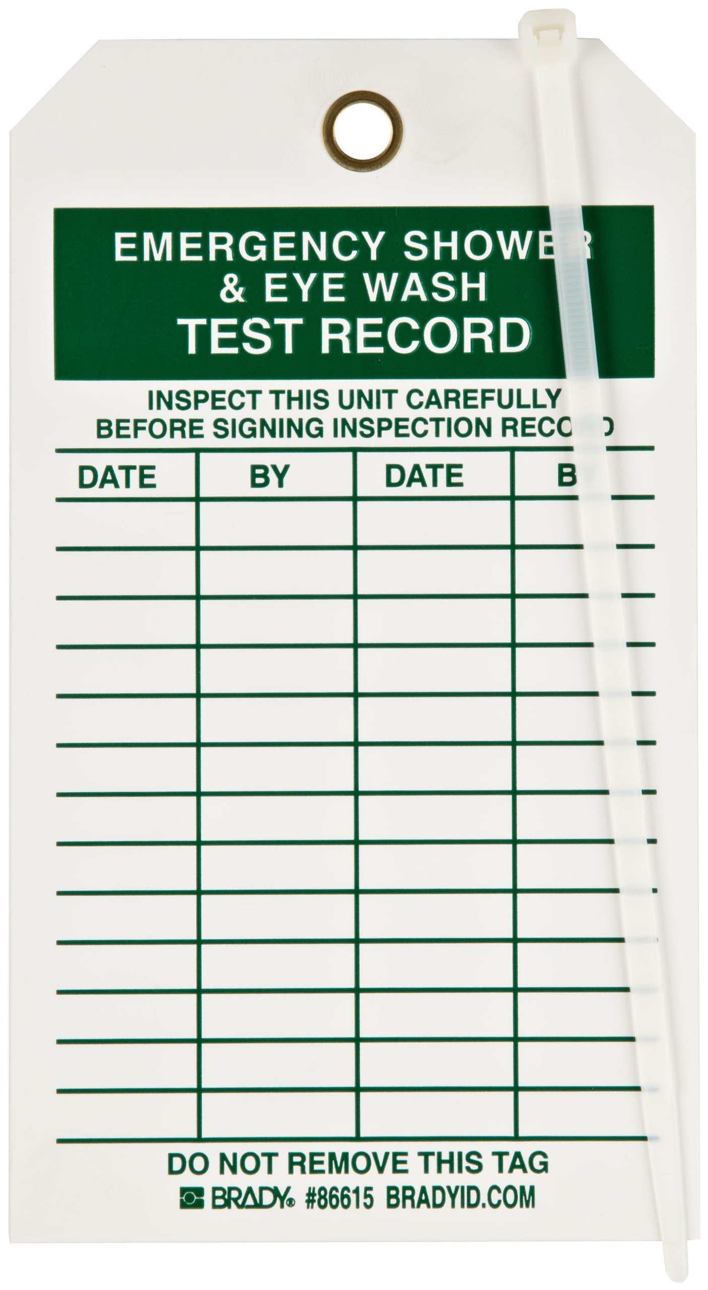 Brady 86615 7'' Height, 4'' Width, B-851 Economy Polyester, Green On White Color Inspection And Material Control Tag (Pack Of 10)