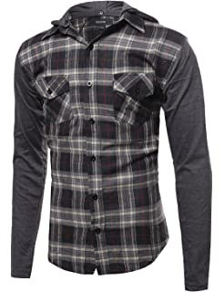8d64a77f8d11 Youstar Men s Long Sleeve Button Down Chest Pocket Checkered Plaid Flannel  Shirt