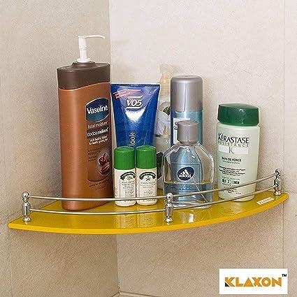 Klaxon GlassBathroom Corner Glass Shelf (Yellow)