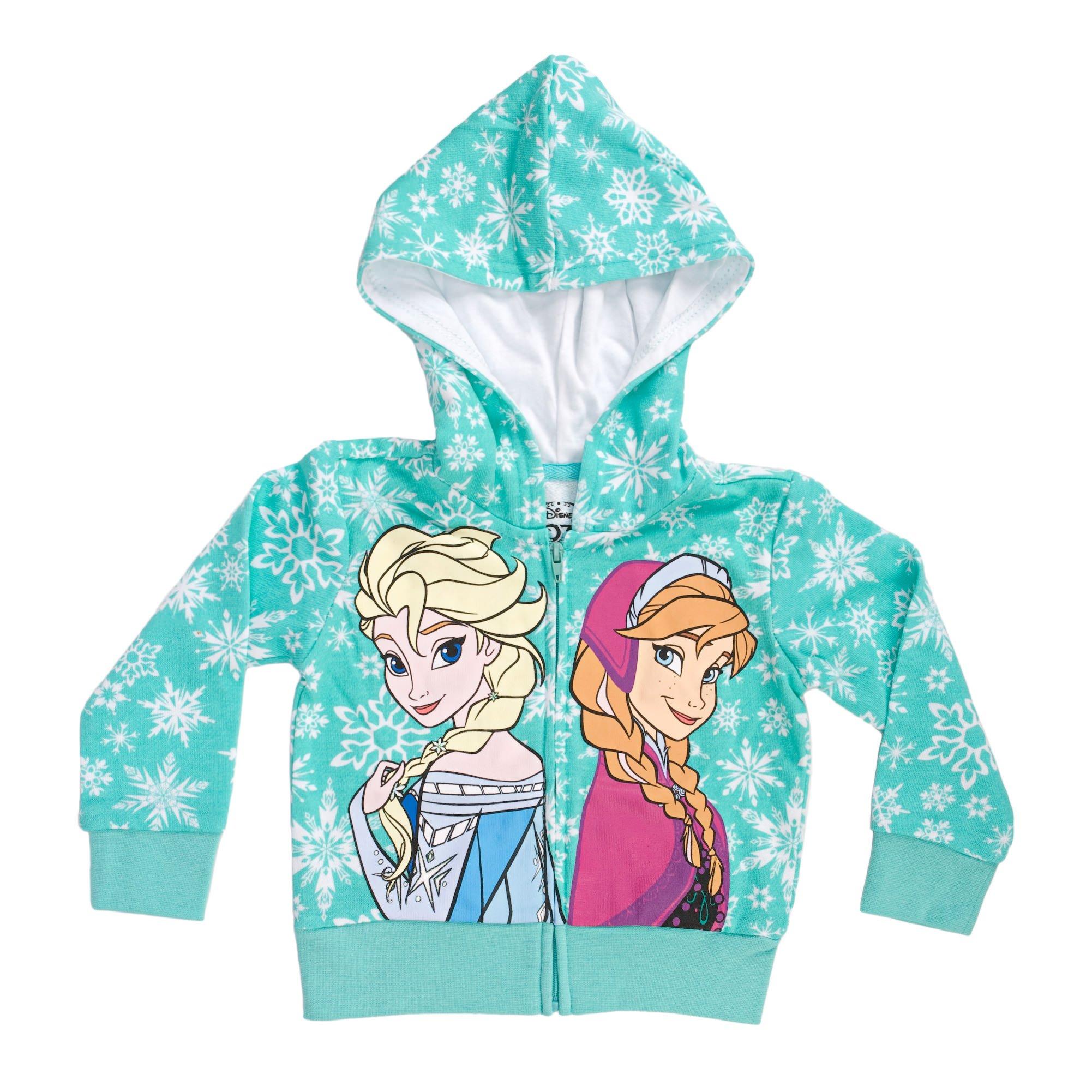Disney Frozen Snowflakes Sisters Girls Mint Green Zip-Up Hoodie Sweatshirt   2T