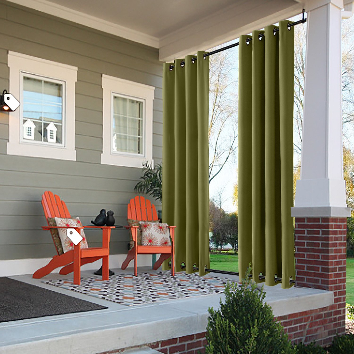 ChadMade Windproof Outdoor Curtain with Top Bottom Grommet Olive 100'' W x 96'' L, Waterproof Patio Cabana Porch Gazebo Panel Drapery (1 Panel)